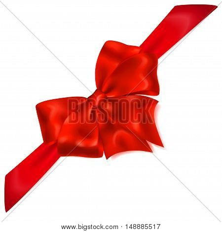 Red Bow With Diagonally Ribbon