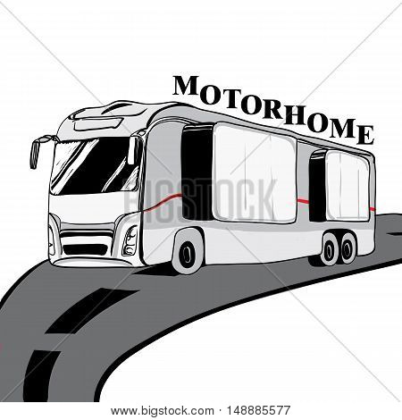 Hand drawn Doodle cars Recreational Vehicles Camper Vans Caravans Icons with text. Vector illustration. Silhouette graphic for design. Motorhome bus on white background