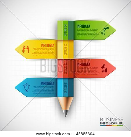 Abstract infographic pencil template. Can be used for education infographic, banner, diagram, step up options.
