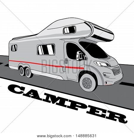 Hand drawn Doodle cars Recreational Vehicles Camper Vans Caravans Icons. Vector illustration. Silhouette graphic for design. Motorhome bus on white background
