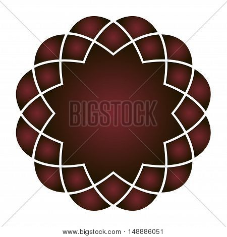 Vector round element. Red and black. Gothic decoration.
