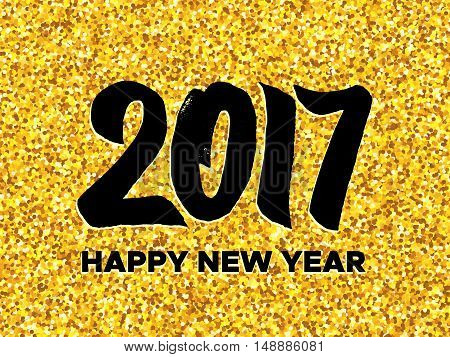 Happy New Year 2017 vector background with typography and golden glitters on backdrop. Greeting card template.