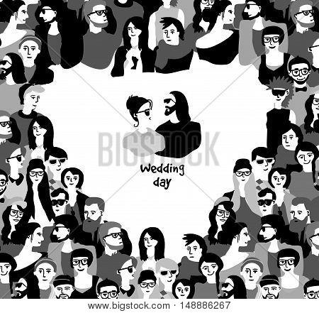 Happy wedding day card couple border heart symbol black and white. Monochrome vector illustration. EPS8