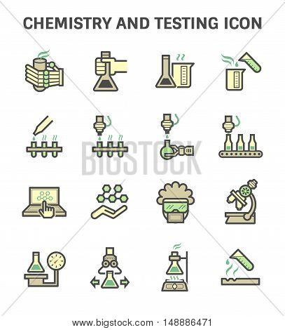 Chemistry and testing vector icon set design.