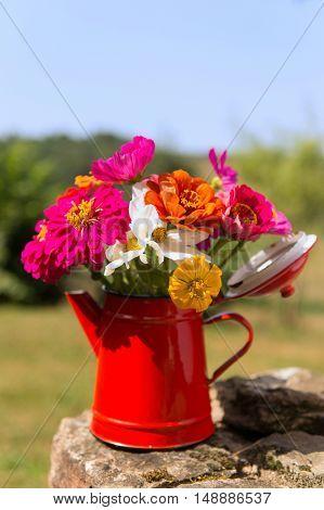 red vase garden flowers outdoor