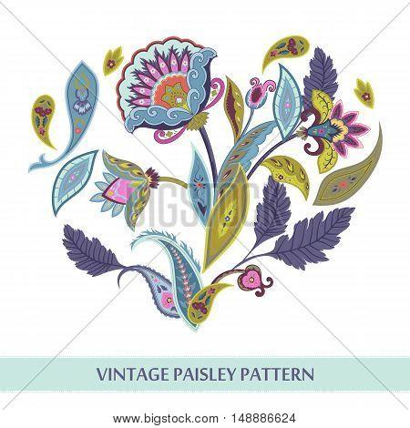 Vintage paisley pattern. Floral set vector illustration
