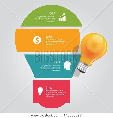 four 4 elements of idea info graphic chart overlap vector bulb idea business shine vector