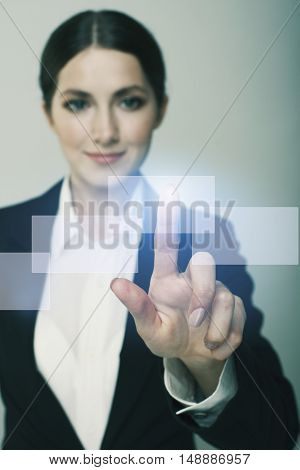 Smiling  Business Woman Pushing On Whiteboard Isolate On Dark Background