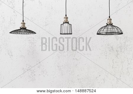 Industrial pendant lamps against rough wall, loft style poster
