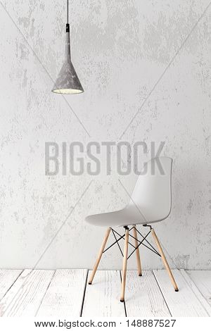 Modern plastic chair on wooden plank floor against wall, concrete pendant lamp above