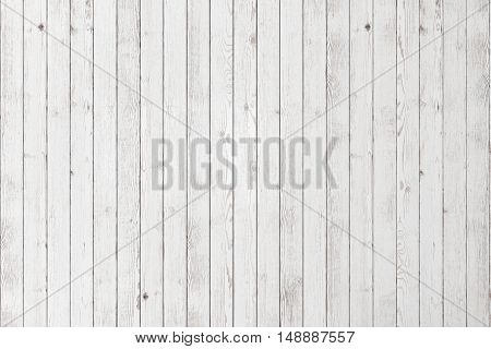 Wood white textured planks. Wooden floor or wall background. Old timber grained desk.