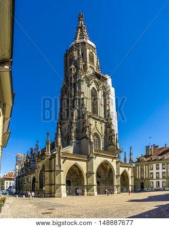 BERN,SWITZERLAND - AUGUST 26,2016 - Bern Minster - Cathedral of Bern in Switzerland. Bern is capital of Switzerland.