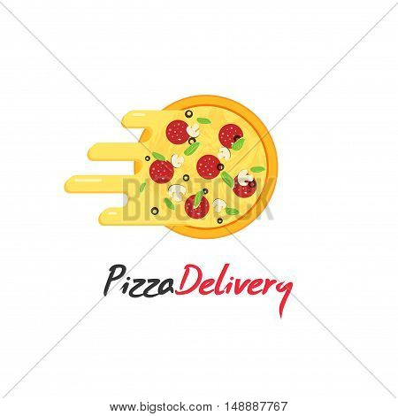 Pizza delivery vector logo isolated on white background, pizza with flowing cheese, creative brand design, flat cartoon logotype design