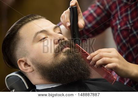 Close-up portrait of handsome young bearded caucasian man getting trendy beard haircut in modern barber shop. Hairstylist girl working serving client doing beard grooming using shaver and comb poster