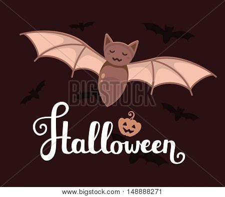 Vector Halloween Illustration With Big Bat, Text, Pumpkin And Flying Silhouettes Of Bats On Dark Bac