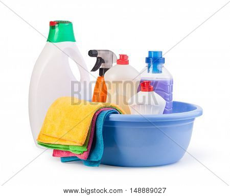 Cleaning items isolated on a white background