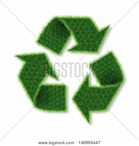 Vector isolated recycle logo made of grass on white background.