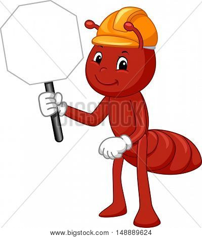 Animal Mascot Illustration Featuring a Fire Ant in Safety Helmet Carrying a Traffic Sign