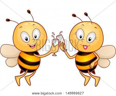 Animal Mascot Illustration Featuring a Pair of Honeybees Clinking Their Wineglasses for a Toast