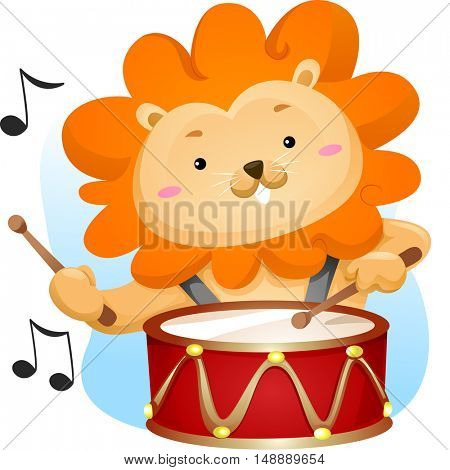 Animal Mascot Illustration Featuring a Cute Male Lion Playing with a Lyre Drum