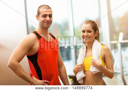 Portrait of two young persons after a gym workout