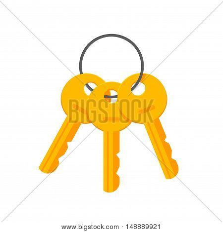 Keys on key ring vector illustration isolated on white background, bunch of golden keys on keyring, key chain icon flat cartoon style