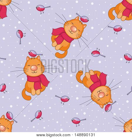 Christmas seamless pattern with the image of funny cats and snowflakes in cartoon style
