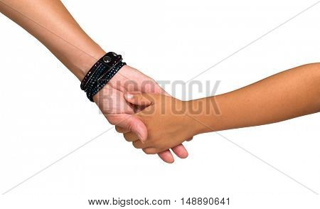 Mother holding a hand of her son isolated on white