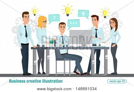 Business Professional Work Team. Meeting, Office, Teamwork, Planning, Conference, Office Desk, Brain