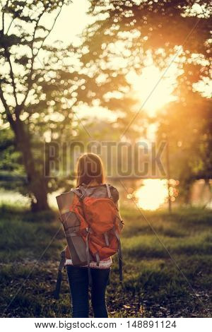 Backpacker Casual Travel Tourist Carefree Nature Concept
