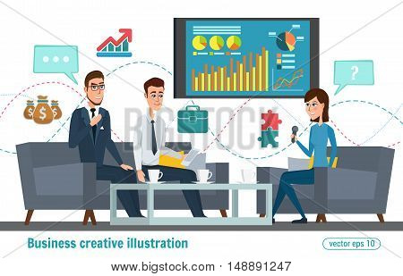 Business Professional Work. Press Conference, Interview Concept, Live Report, Vector Microphones, Gi