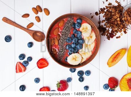 Strawberry Smoothie Bowl With Chia Seeds
