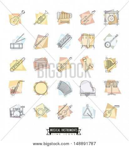 Collection Of 25 Musical Instruments Retro Styled Line Icons on pastel colored irregular shapes