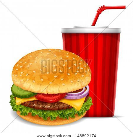 Big tasty hamburger with soda in paper cup. Lovely snack. Realistic vector illustration. Isolated on white background.