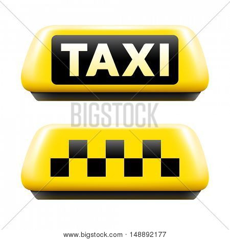 Luminous taxi sign set isolated on white background. Taxi sign realistic vector illustration.