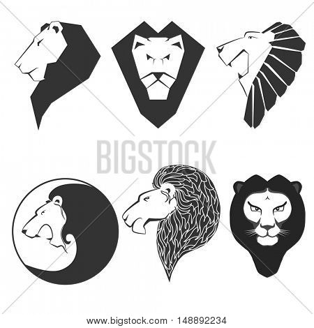 Set of animal emblems. Labels and logo with lion. Graphic sign, icon with leo head. Symbol of king, strength. Flat style. Black vector illustration isolated on white background