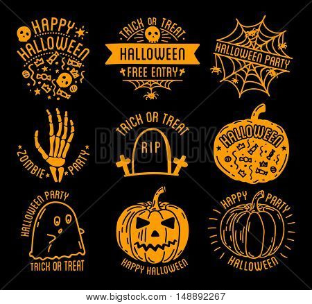 Set of Halloween stylish logos with traditional pumpkins, graves and skulls. Black vector illustration for card, invitation and banner. Isolated on white background.