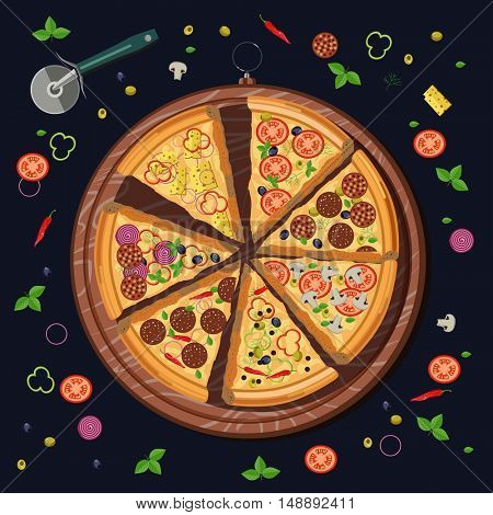 Set of pizza slices on the board and the food ingredients: cheese and tomato, mozzarella and pepperoni, pepper and basil, salami. Italian restaurant menu. Vector illustration isolated