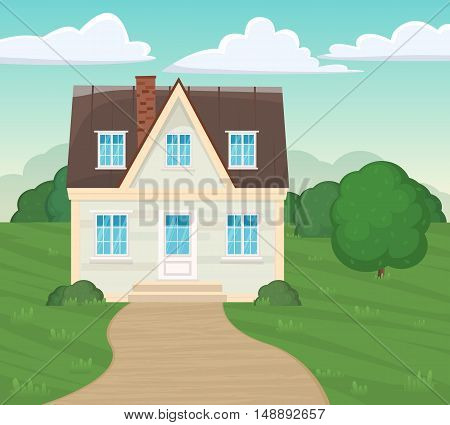 Suburban Residential Facade House Illustration Of A Cartoon Family Modern Home In Spring Or Summer S