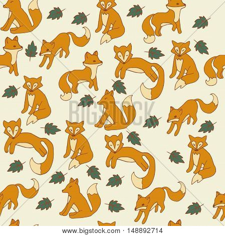 Very high quality original seamless pattern with cute foxes for design, illustration