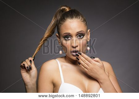 Surprised face model with long hair