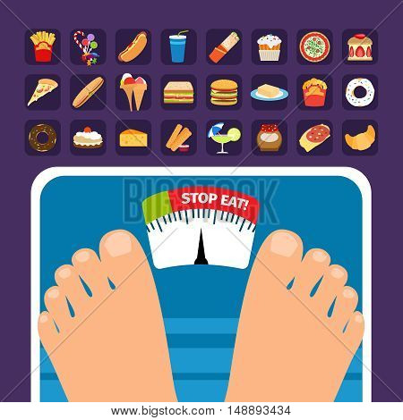 Overweight on scale concept with sweets icons. Stop eating fatty food vector illustration