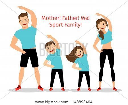 Active family vector illustration. Sport lifestyle parents and children exercising isolated on white background