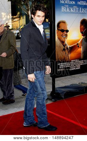 John Mayer at the World premiere of 'The Bucket List' held at the ArcLight Theaters in Hollywood, USA on December 16, 2007.