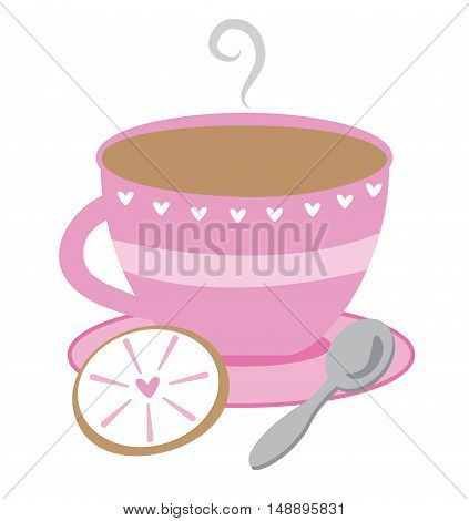 Cute Pink Heart Cup of Tea Time