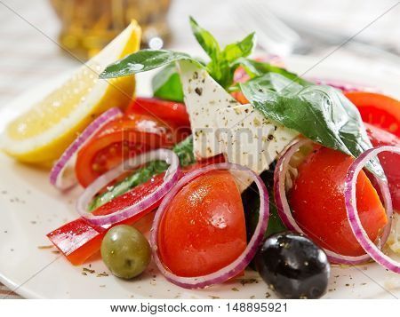 Greek Salad With Feta Cheese Slice