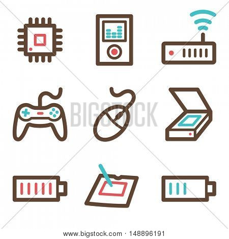Computer web icons set. Electronics and computers mobile symbols.