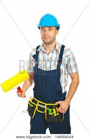 Painter Man Holding Paint Roller