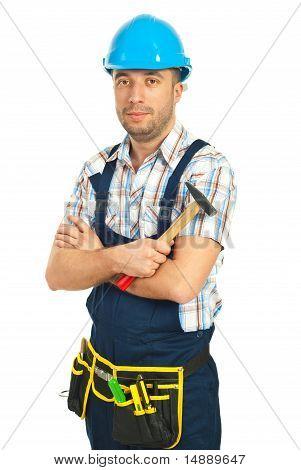 Workman Holding Hammer