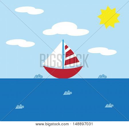 Sailboat on Ocean with Waves and Sun